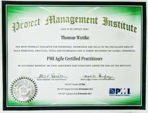 Das PMI-ACP Zertifikat - Hier ein Beispiel