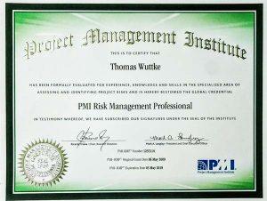 Das PMI RMP Zertifikat - Hier als Beispiel von Thomas Wuttke
